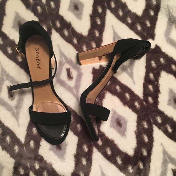 BAMBOO Shoes   Blackgold Heels Worn